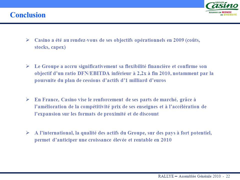 RALLYE – Assemblée Générale 2010 - 21 Axes stratégiques du Groupe à linternational Profil de croissance renforcé par lacquisition dune position de N°1