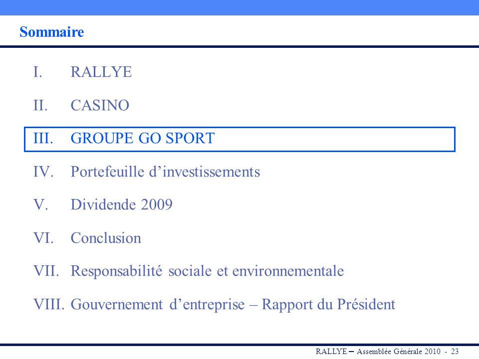 RALLYE – Assemblée Générale 2010 - 22 Conclusion Casino a été au rendez-vous de ses objectifs opérationnels en 2009 (coûts, stocks, capex) Le Groupe a