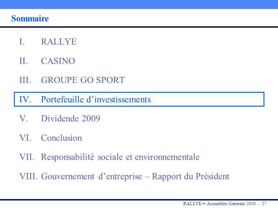 RALLYE – Assemblée Générale 2010 - 26 Conclusion GO Sport : accentuer la différenciation et renforcer la relation client Courir : finaliser et déploye
