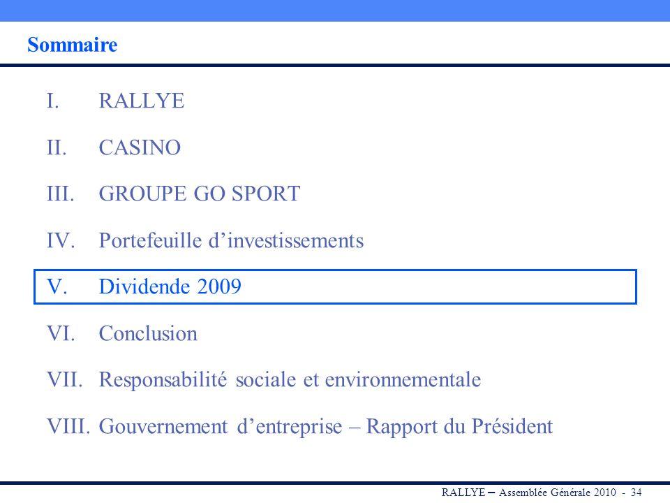 RALLYE – Assemblée Générale 2010 - 33 91 M de cessions dactifs en 2009, conformément aux objectifs annoncés Portefeuille dinvestissements financiers,