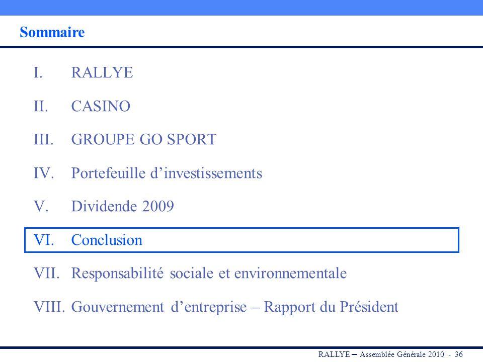 RALLYE – Assemblée Générale 2010 - 35 Dividende 2009 Il est proposé le versement dun dividende de 1,83 par action, stable par rapport au dividende 200