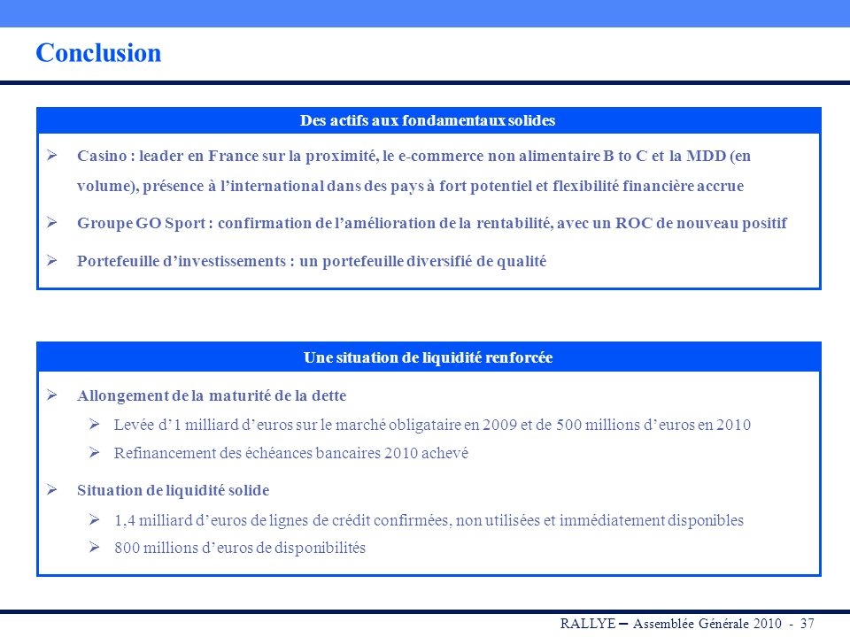 RALLYE – Assemblée Générale 2010 - 36 Sommaire I.RALLYE II.CASINO III.GROUPE GO SPORT IV.Portefeuille dinvestissements V.Dividende 2009 VI.Conclusion