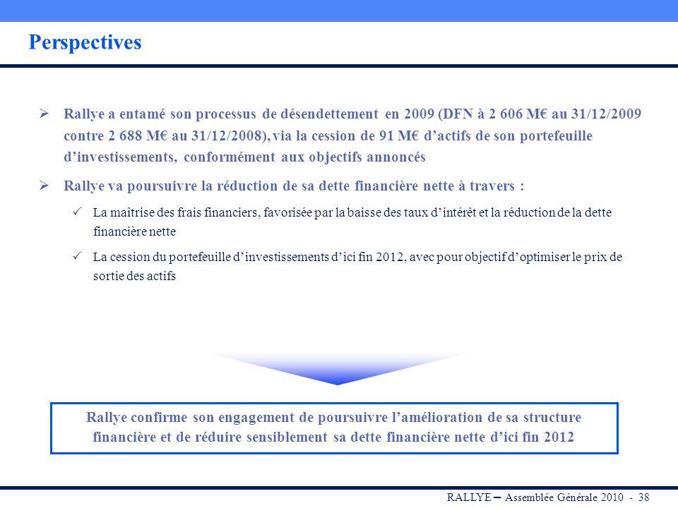 RALLYE – Assemblée Générale 2010 - 37 Conclusion Des actifs aux fondamentaux solides Casino : leader en France sur la proximité, le e-commerce non ali
