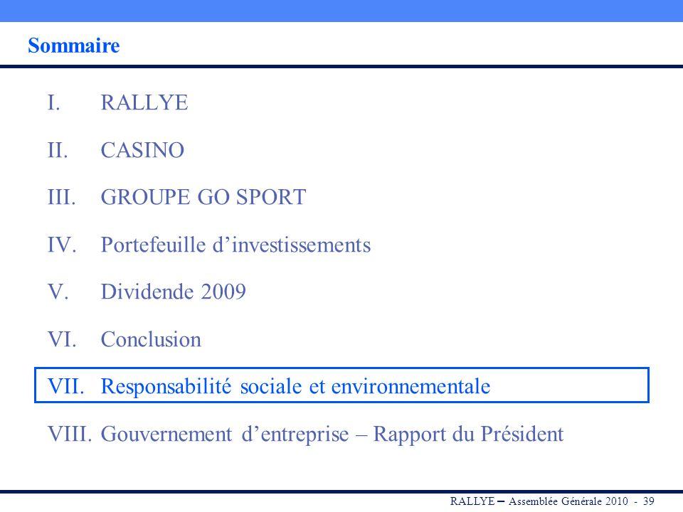 RALLYE – Assemblée Générale 2010 - 38 Perspectives Rallye a entamé son processus de désendettement en 2009 (DFN à 2 606 M au 31/12/2009 contre 2 688 M