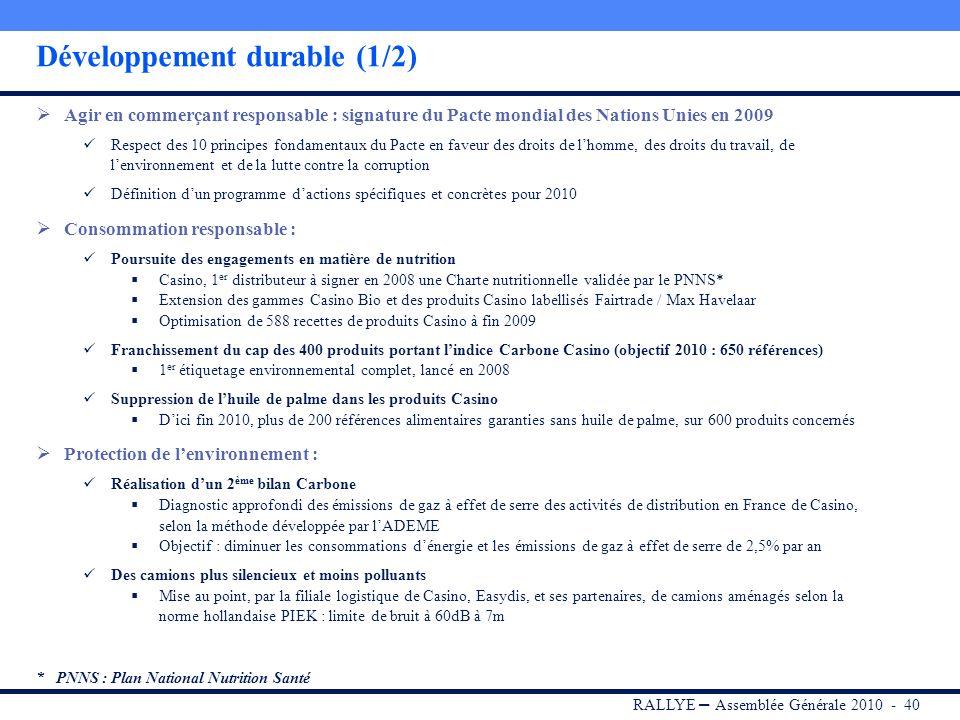 RALLYE – Assemblée Générale 2010 - 39 Sommaire I.RALLYE II.CASINO III.GROUPE GO SPORT IV.Portefeuille dinvestissements V.Dividende 2009 VI.Conclusion