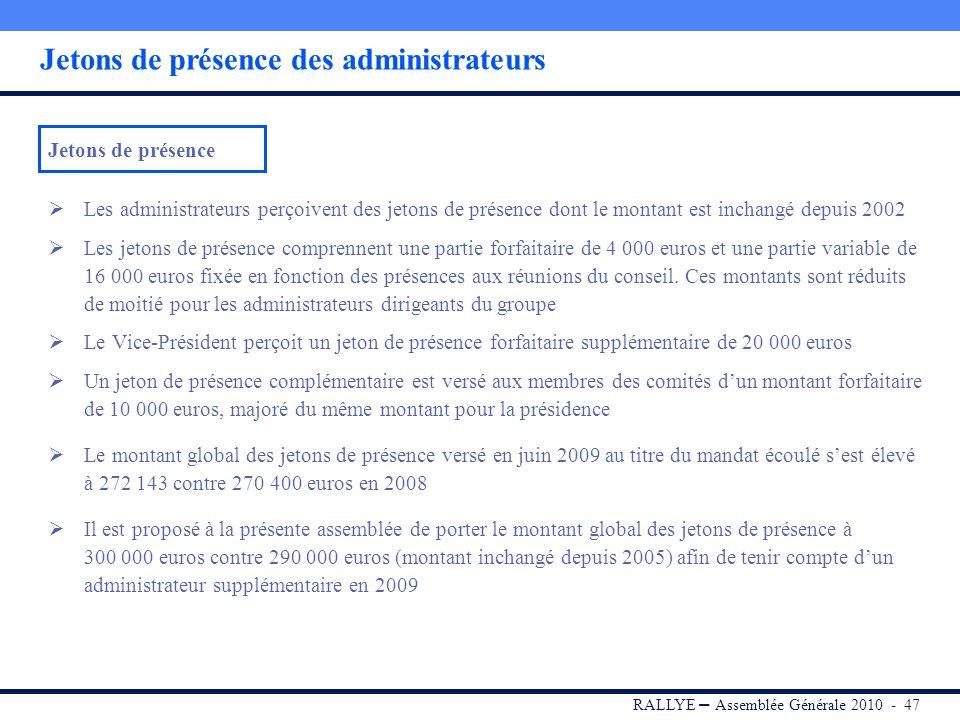 RALLYE – Assemblée Générale 2010 - 46 Rémunération des dirigeants Le conseil dadministration est présidé par Monsieur Jean-Charles NAOURI qui exerce é
