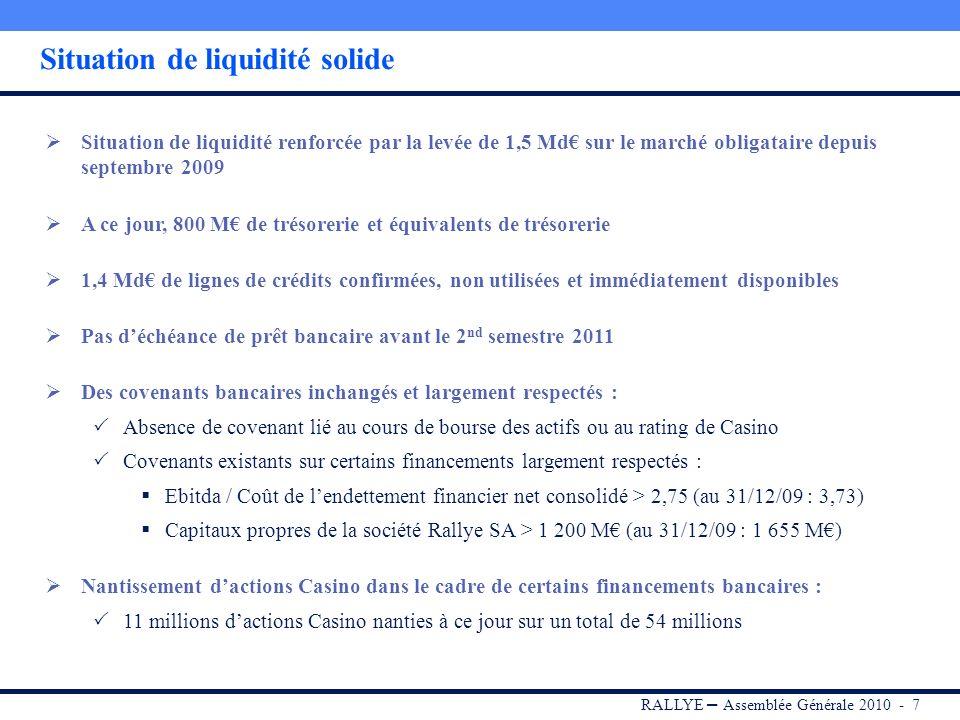 RALLYE – Assemblée Générale 2010 - 17 2009 : une année de forte création de valeur immobilière Accélération du développement de Mercialys Progression des revenus locatifs de +15,5%, dont +6,1% en organique Apport par Casino de 25 projets Alcudia / Esprit voisin, à fort potentiel de restructuration Un portefeuille dactifs valorisé à 2,4 Mds (+18%) Poursuite de la stratégie de rotation des actifs Cession dactifs immobiliers à maturité en France Cession de 2 galeries commerciales en Pologne dans le cadre du partenariat avec Whitehall Démarrage de lactivité de promotion de centrales photovoltaïques (Green Yellow) Patrimoine immobilier Groupe valorisé à 6,3 Mds au 31/12/2009