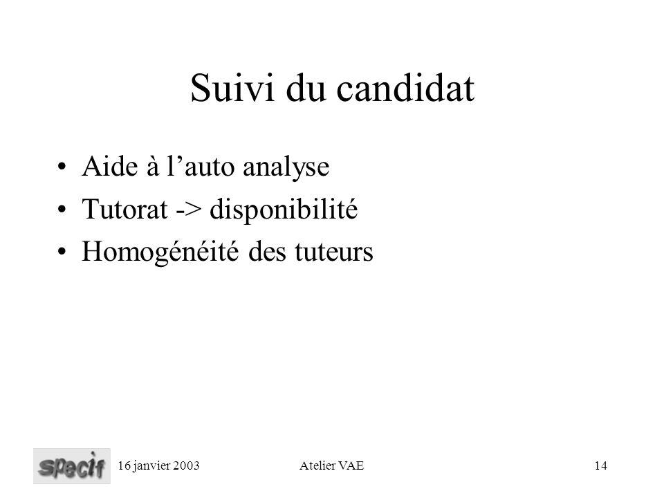 16 janvier 2003Atelier VAE14 Suivi du candidat Aide à lauto analyse Tutorat -> disponibilité Homogénéité des tuteurs