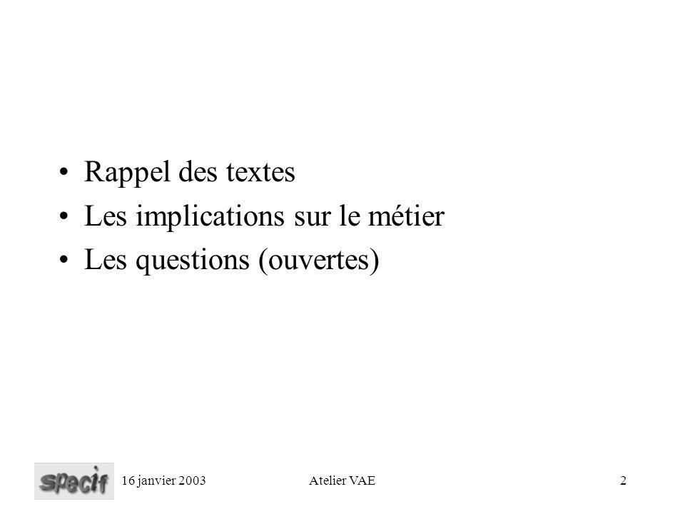 16 janvier 2003Atelier VAE2 Rappel des textes Les implications sur le métier Les questions (ouvertes)