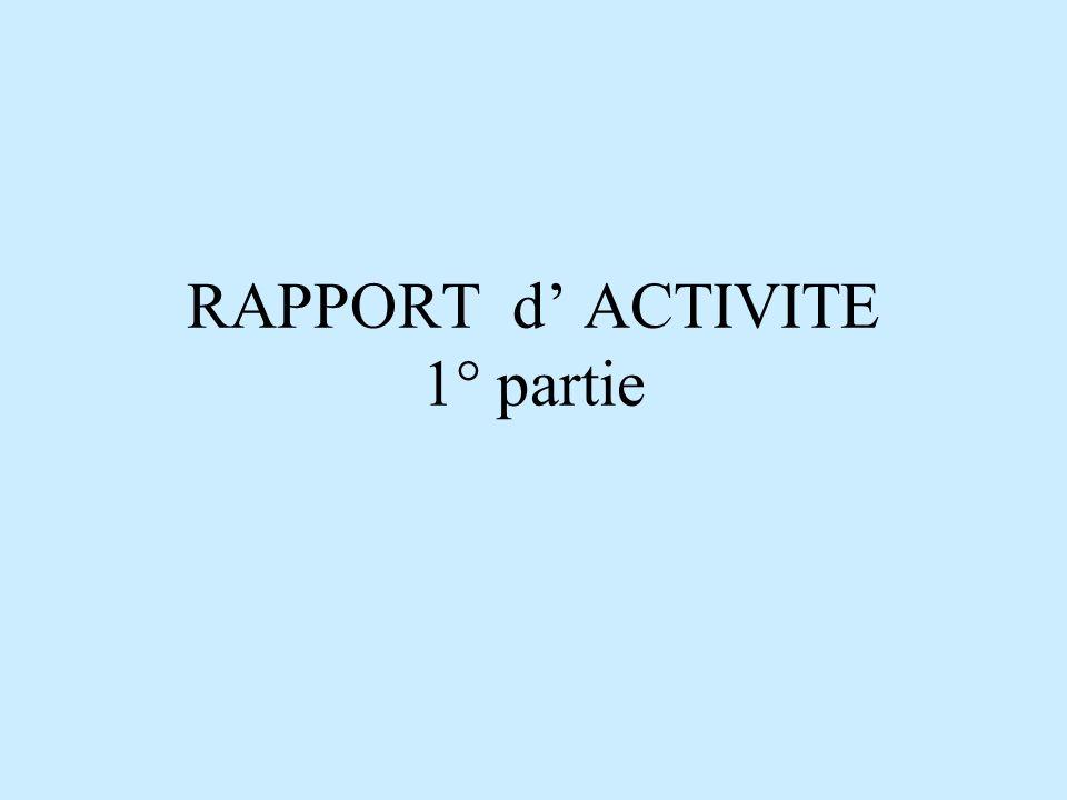 RAPPORT d ACTIVITE 1° partie