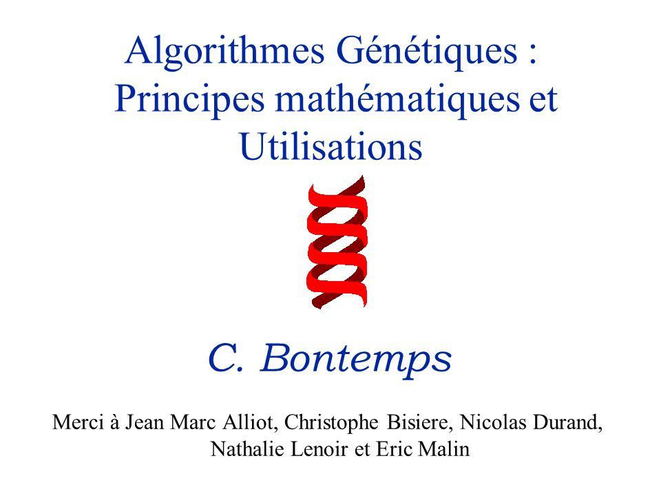 Algorithmes Génétiques : Principes mathématiques et Utilisations C. Bontemps Merci à Jean Marc Alliot, Christophe Bisiere, Nicolas Durand, Nathalie Le