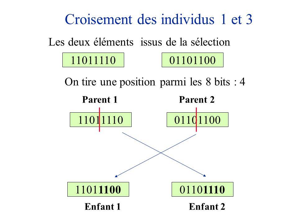 Croisement des individus 1 et 3 1101111001101100 On tire une position parmi les 8 bits : 4 1101111001101100 1101110001101110 Parent 1Parent 2 Enfant 1
