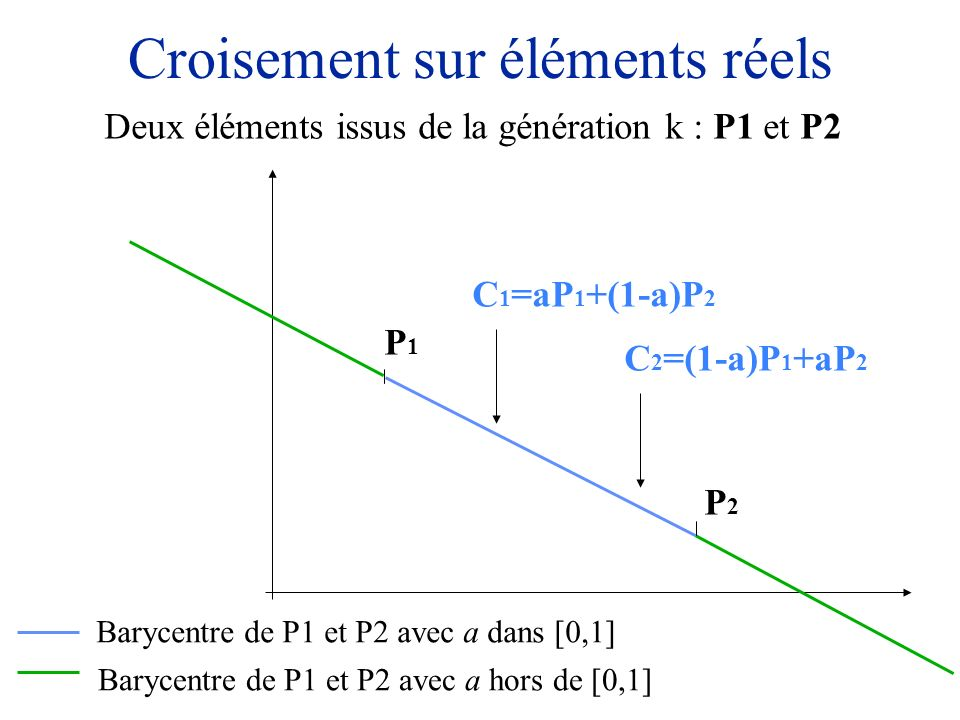Croisement sur éléments réels Deux éléments issus de la génération k : P1 et P2 P1P1 P2P2 Barycentre de P1 et P2 avec a dans [0,1] Barycentre de P1 et