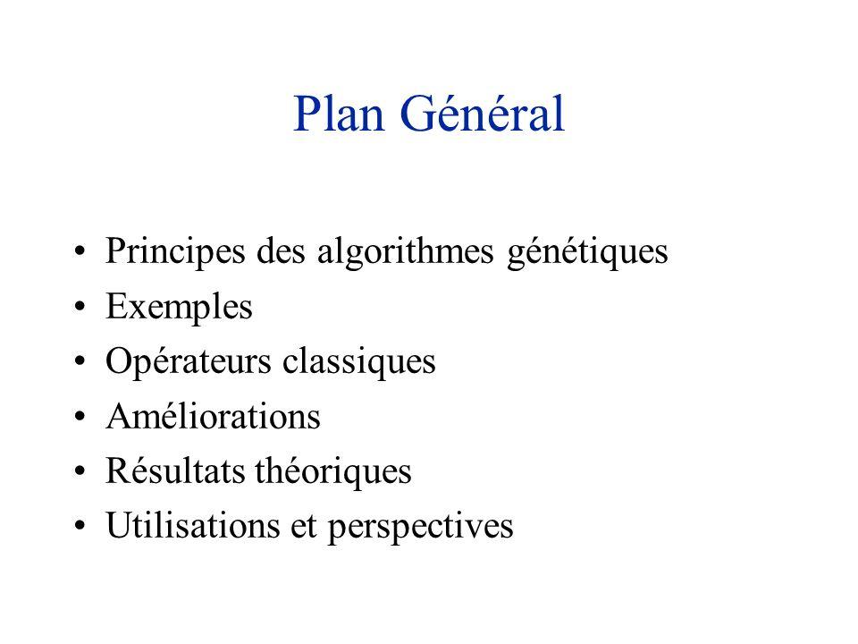 Plan Général Principes des algorithmes génétiques Exemples Opérateurs classiques Améliorations Résultats théoriques Utilisations et perspectives