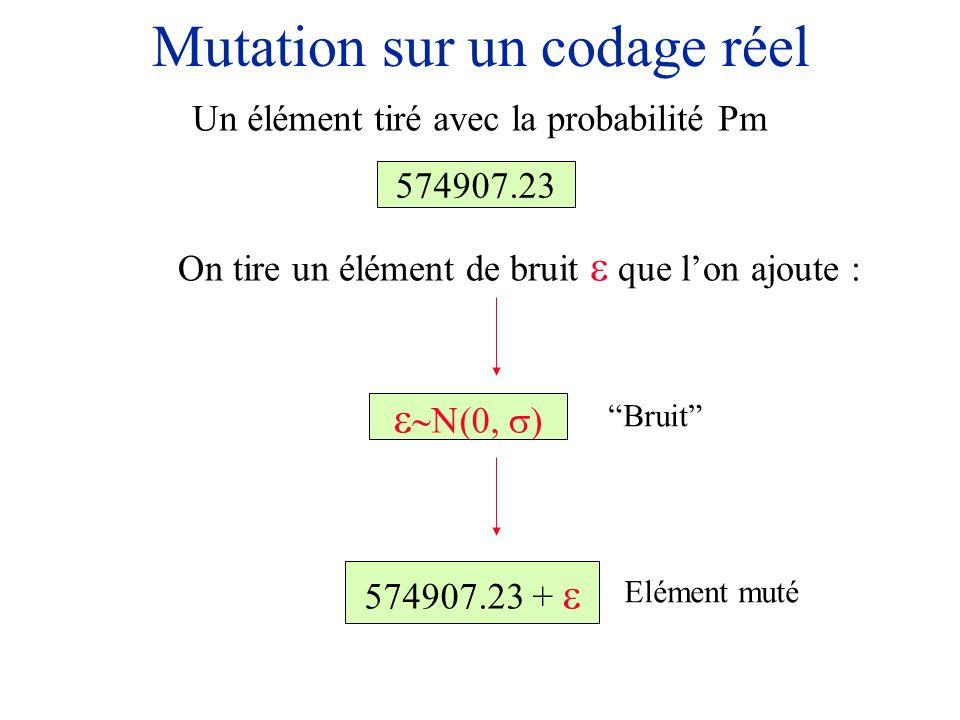 Mutation sur un codage réel 574907.23 On tire un élément de bruit que lon ajoute : Un élément tiré avec la probabilité Pm 574907.23 + Bruit Elément mu