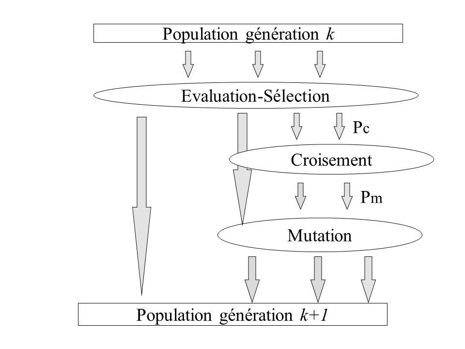 Evaluation-Sélection Mutation Population génération k Population génération k+1 Croisement PcPc PmPm