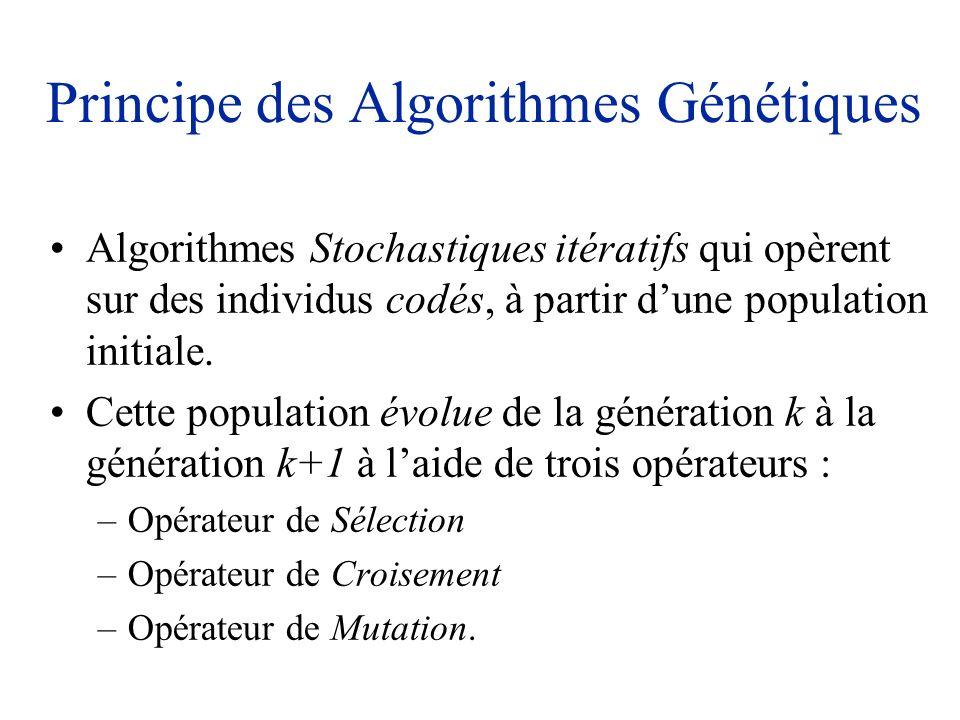 Principe des Algorithmes Génétiques Algorithmes Stochastiques itératifs qui opèrent sur des individus codés, à partir dune population initiale. Cette