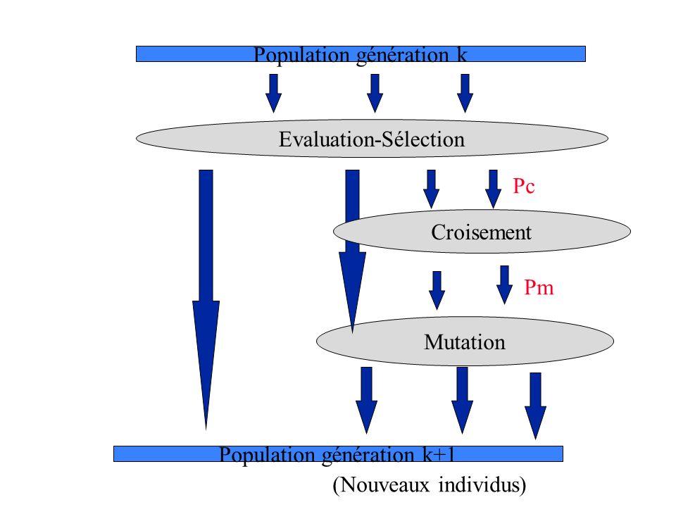 Evaluation-Sélection Mutation Population génération k Population génération k+1 Croisement (Nouveaux individus) Pc Pm
