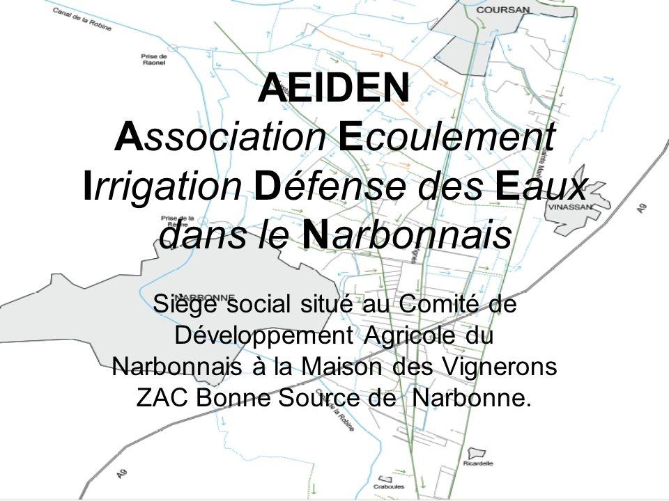 AEIDEN - Constituée en mars 2005 par les volontés du CDA du narbonnais, lappui technique de la CA11, du PNR ( suite au Life EDEN 1999 ) et du SMMAR - Cette structure rassemble 18 Associations Syndicales dirrigation et découlement (ressuyage des terres) du Delta de lAude et des irriguants privés