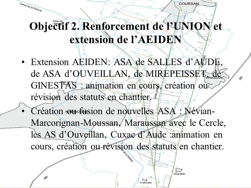 Objectif 2. Renforcement de lUNION et extension de lAEIDEN Extension AEIDEN: ASA de SALLES dAUDE, de ASA dOUVEILLAN, de MIREPEISSET, de GINESTAS : ani
