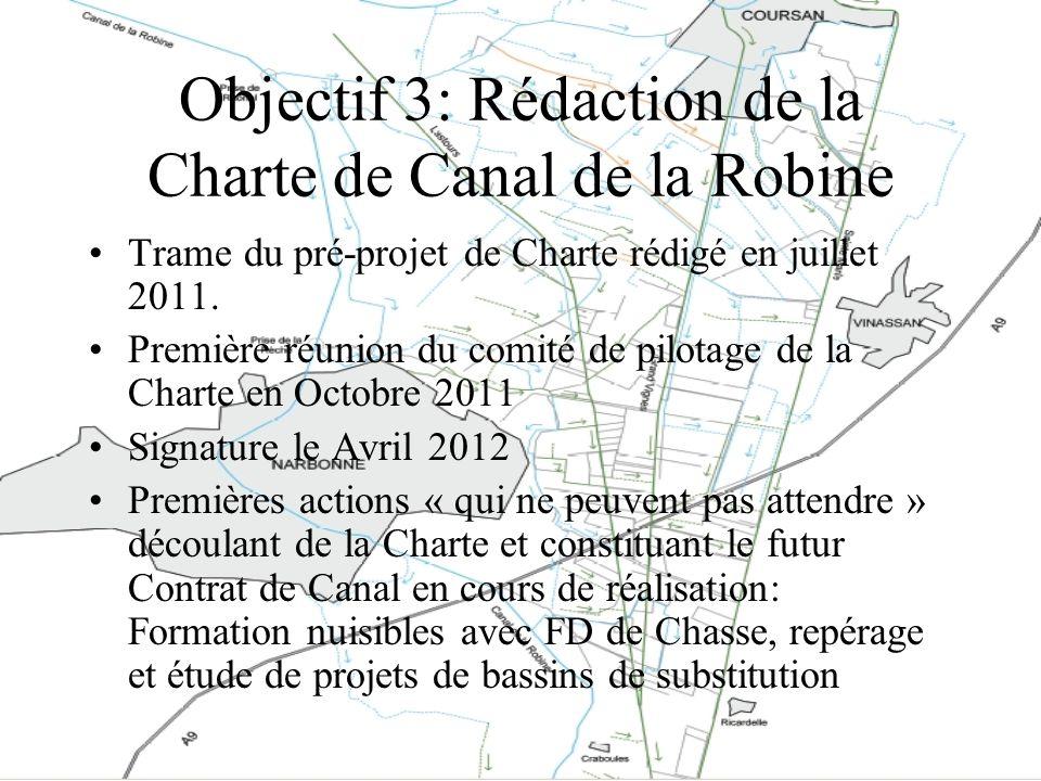Objectif 3: Rédaction de la Charte de Canal de la Robine Trame du pré-projet de Charte rédigé en juillet 2011. Première réunion du comité de pilotage