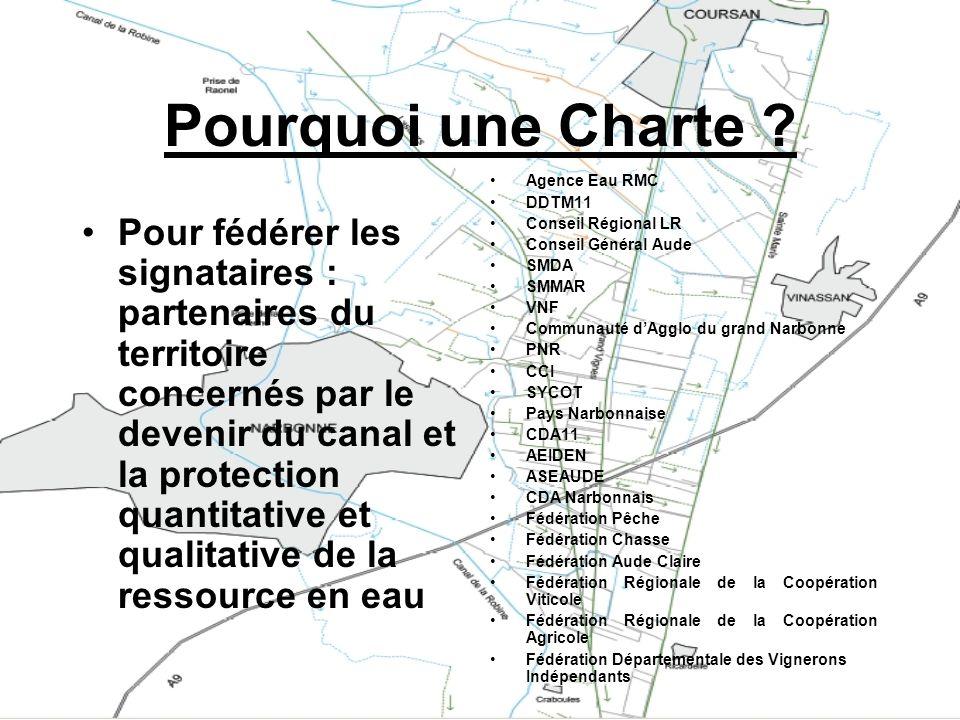 Pourquoi une Charte ? Pour fédérer les signataires : partenaires du territoire concernés par le devenir du canal et la protection quantitative et qual
