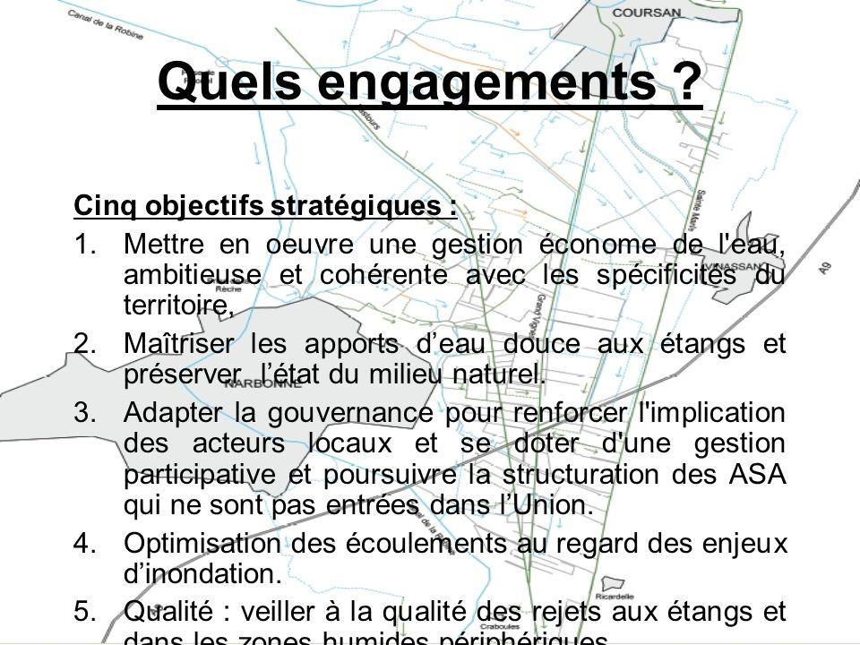 Quels engagements ? Cinq objectifs stratégiques : 1.Mettre en oeuvre une gestion économe de l'eau, ambitieuse et cohérente avec les spécificités du te