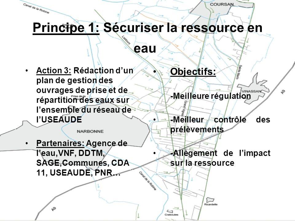 Principe 1: Sécuriser la ressource en eau Action 3: Rédaction dun plan de gestion des ouvrages de prise et de répartition des eaux sur lensemble du ré