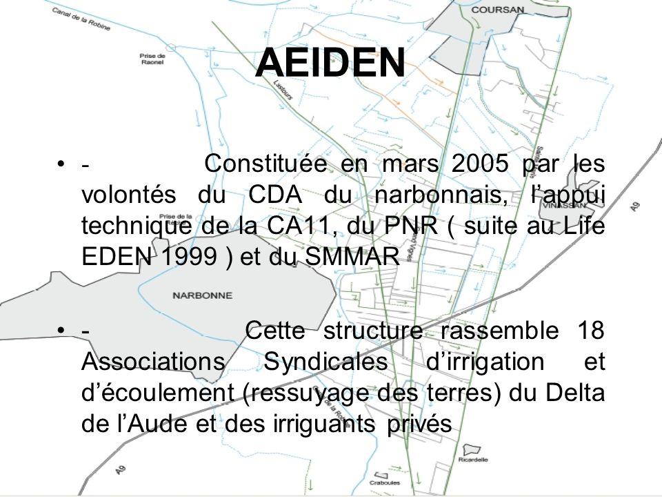 AEIDEN - Constituée en mars 2005 par les volontés du CDA du narbonnais, lappui technique de la CA11, du PNR ( suite au Life EDEN 1999 ) et du SMMAR -