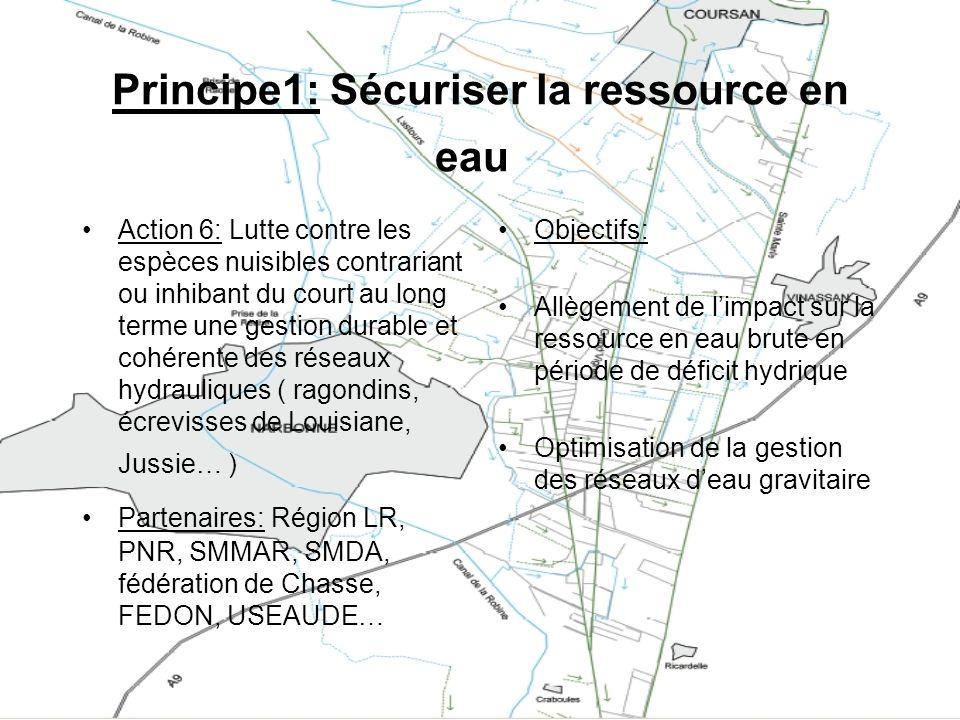 Principe1: Sécuriser la ressource en eau Action 6: Lutte contre les espèces nuisibles contrariant ou inhibant du court au long terme une gestion durab