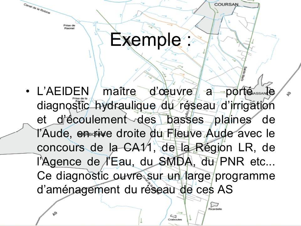 Exemple : LAEIDEN maître dœuvre a porté le diagnostic hydraulique du réseau dirrigation et découlement des basses plaines de lAude, en rive droite du