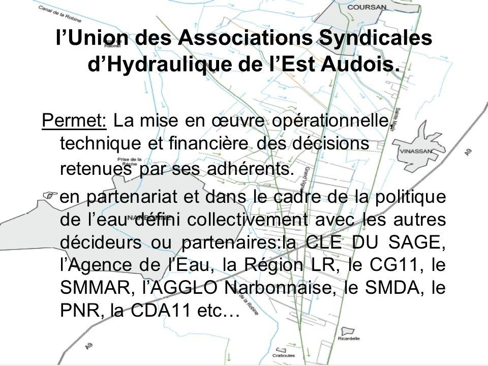 lUnion des Associations Syndicales dHydraulique de lEst Audois. Permet: La mise en œuvre opérationnelle, technique et financière des décisions retenue