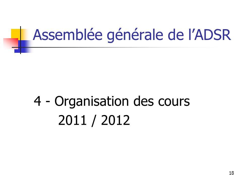 Assemblée générale de lADSR 4 - Organisation des cours 2011 / 2012 18