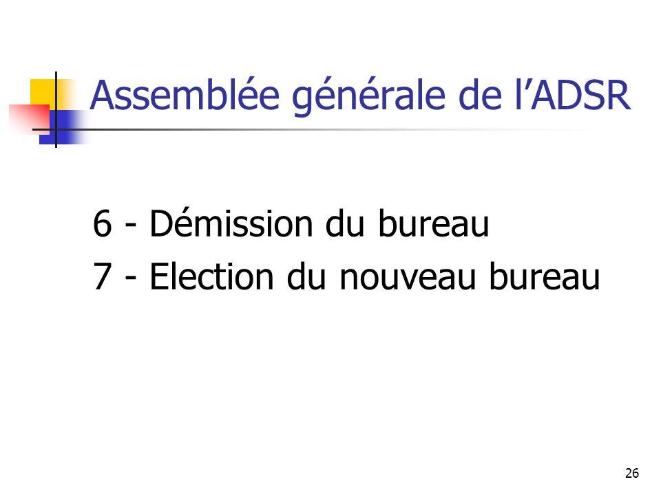 Assemblée générale de lADSR 6 - Démission du bureau 7 - Election du nouveau bureau 26