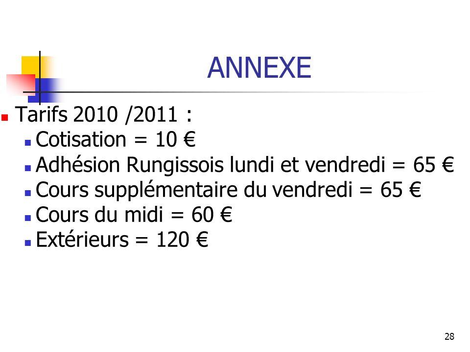 ANNEXE Tarifs 2010 /2011 : Cotisation = 10 Adhésion Rungissois lundi et vendredi = 65 Cours supplémentaire du vendredi = 65 Cours du midi = 60 Extérie
