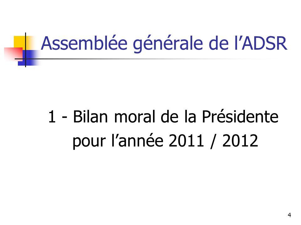 Assemblée générale de lADSR 1 - Bilan moral de la Présidente pour lannée 2011 / 2012 4
