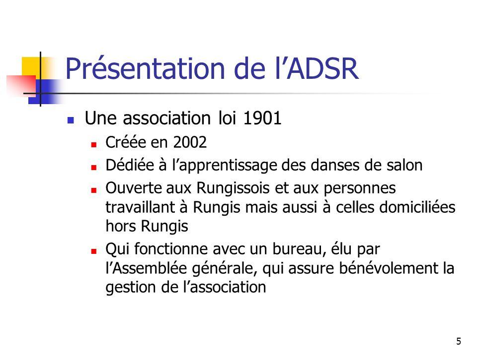 Présentation de lADSR Une association loi 1901 Créée en 2002 Dédiée à lapprentissage des danses de salon Ouverte aux Rungissois et aux personnes trava