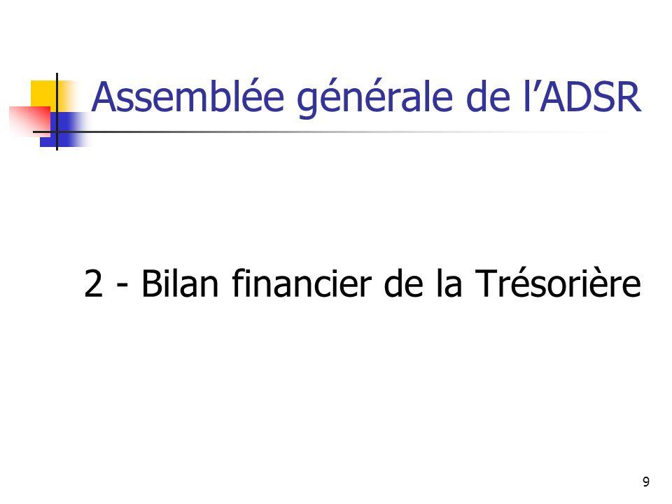 Assemblée générale de lADSR 2 - Bilan financier de la Trésorière 9