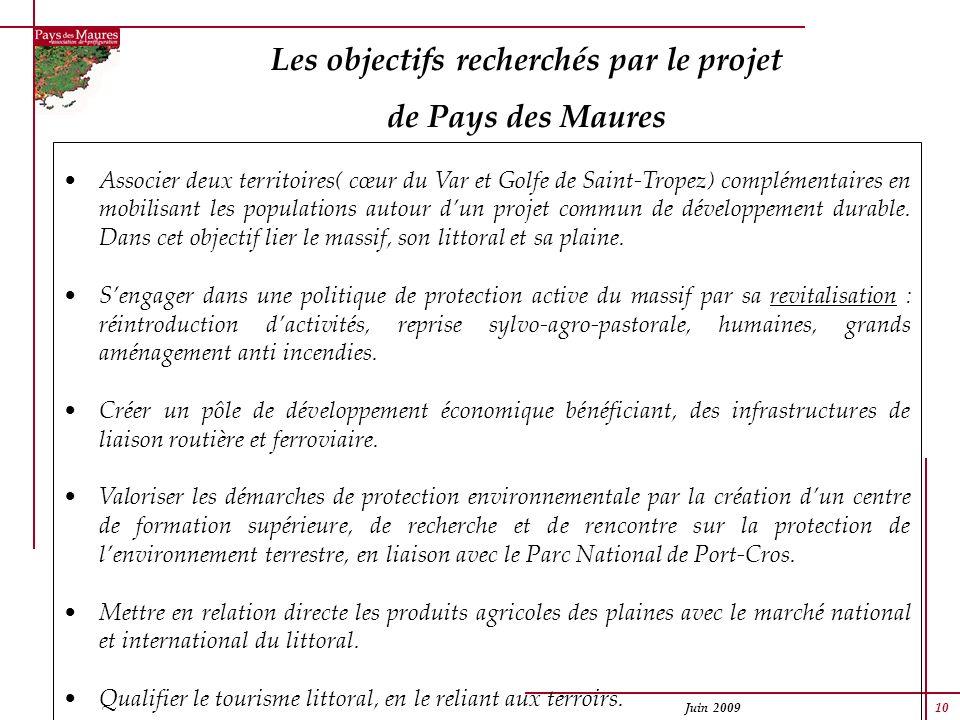 Juin 2009 10 Les objectifs recherchés par le projet de Pays des Maures Associer deux territoires( cœur du Var et Golfe de Saint-Tropez) complémentaire
