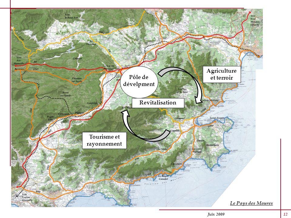 Juin 2009 12 Le Pays des Maures Agriculture et terroir Tourisme et rayonnement Revitalisation Pôle de dévelpment