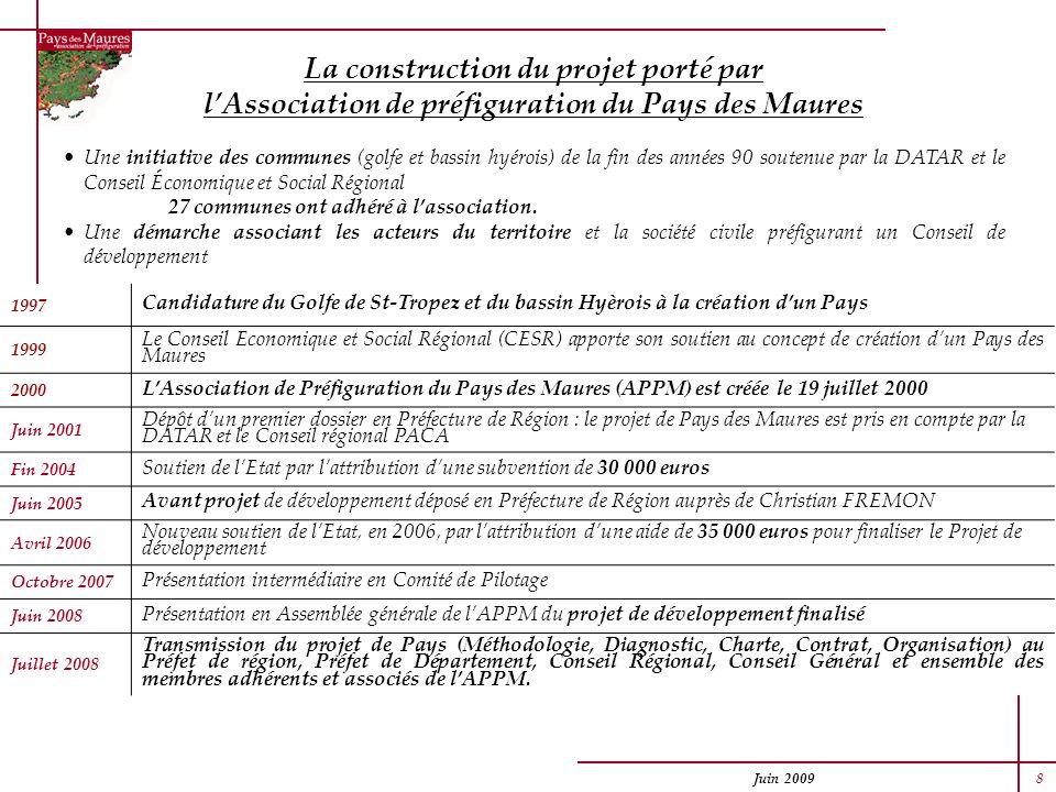 Juin 2009 8 La construction du projet porté par lAssociation de préfiguration du Pays des Maures Une initiative des communes (golfe et bassin hyérois)