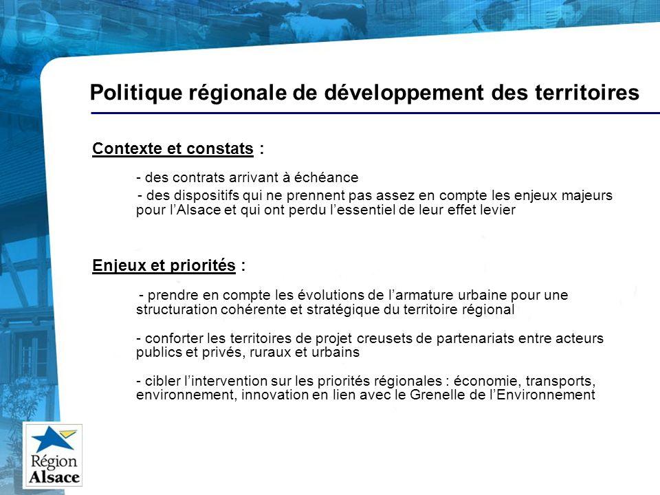 Politique régionale de développement des territoires Contexte et constats : - des contrats arrivant à échéance - des dispositifs qui ne prennent pas a