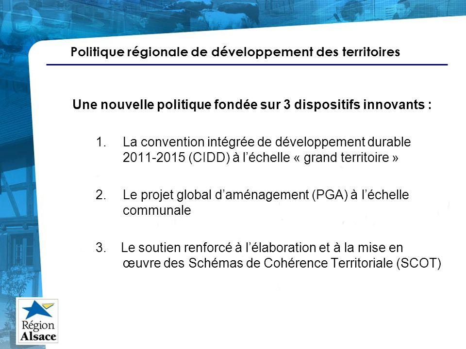 Politique régionale de développement des territoires Une nouvelle politique fondée sur 3 dispositifs innovants : 1.La convention intégrée de développe