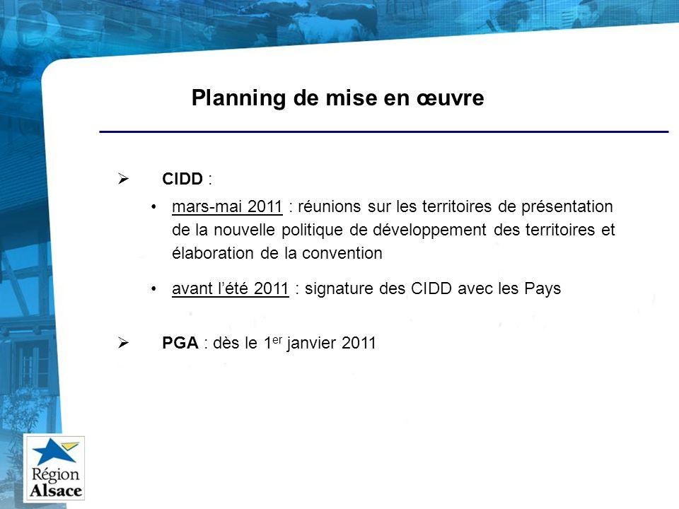Planning de mise en œuvre CIDD : mars-mai 2011 : réunions sur les territoires de présentation de la nouvelle politique de développement des territoire