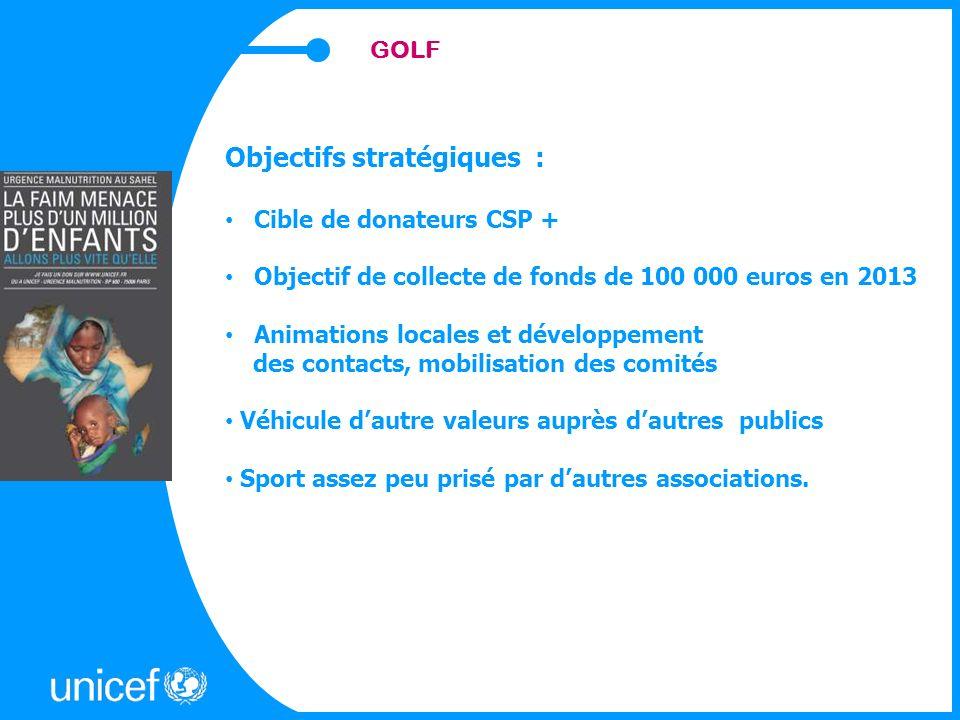 GOLF Objectifs stratégiques : Cible de donateurs CSP + Objectif de collecte de fonds de 100 000 euros en 2013 Animations locales et développement des contacts, mobilisation des comités Véhicule dautre valeurs auprès dautres publics Sport assez peu prisé par dautres associations.