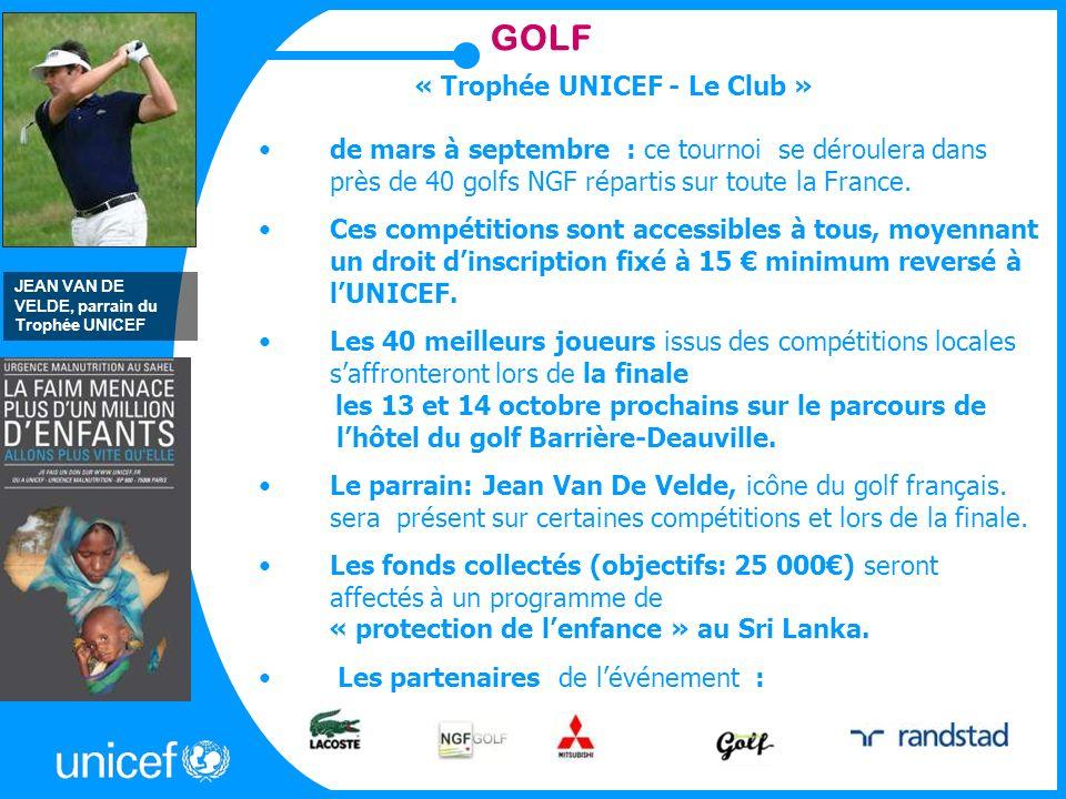 GOLF « Trophée UNICEF - Le Club » de mars à septembre : ce tournoi se déroulera dans près de 40 golfs NGF répartis sur toute la France.