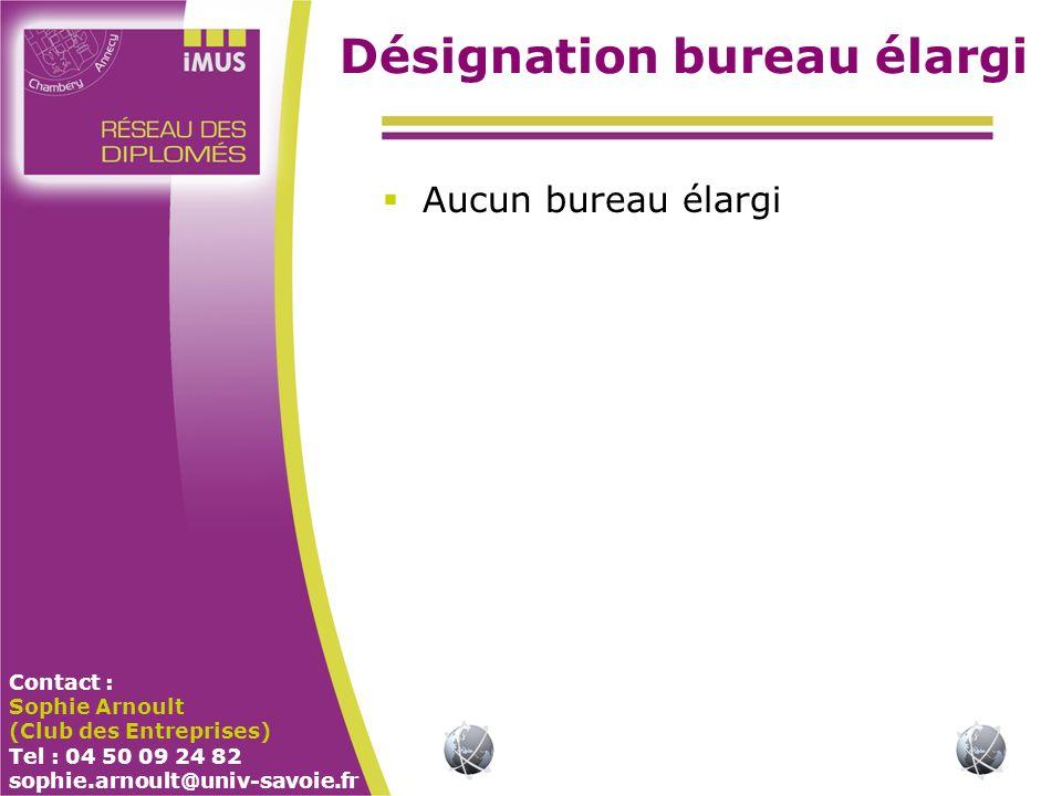 Contact : Sophie Arnoult (Club des Entreprises) Tel : 04 50 09 24 82 sophie.arnoult@univ-savoie.fr Désignation bureau élargi Aucun bureau élargi