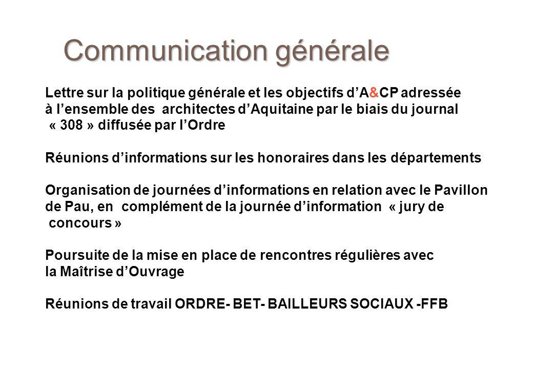 Communication générale Lettre sur la politique générale et les objectifs dA&CP adressée à lensemble des architectes dAquitaine par le biais du journal