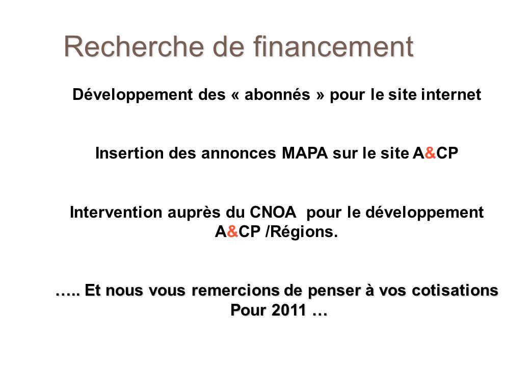 Recherche de financement Développement des « abonnés » pour le site internet Insertion des annonces MAPA sur le site A&CP Intervention auprès du CNOA pour le développement A&CP /Régions.