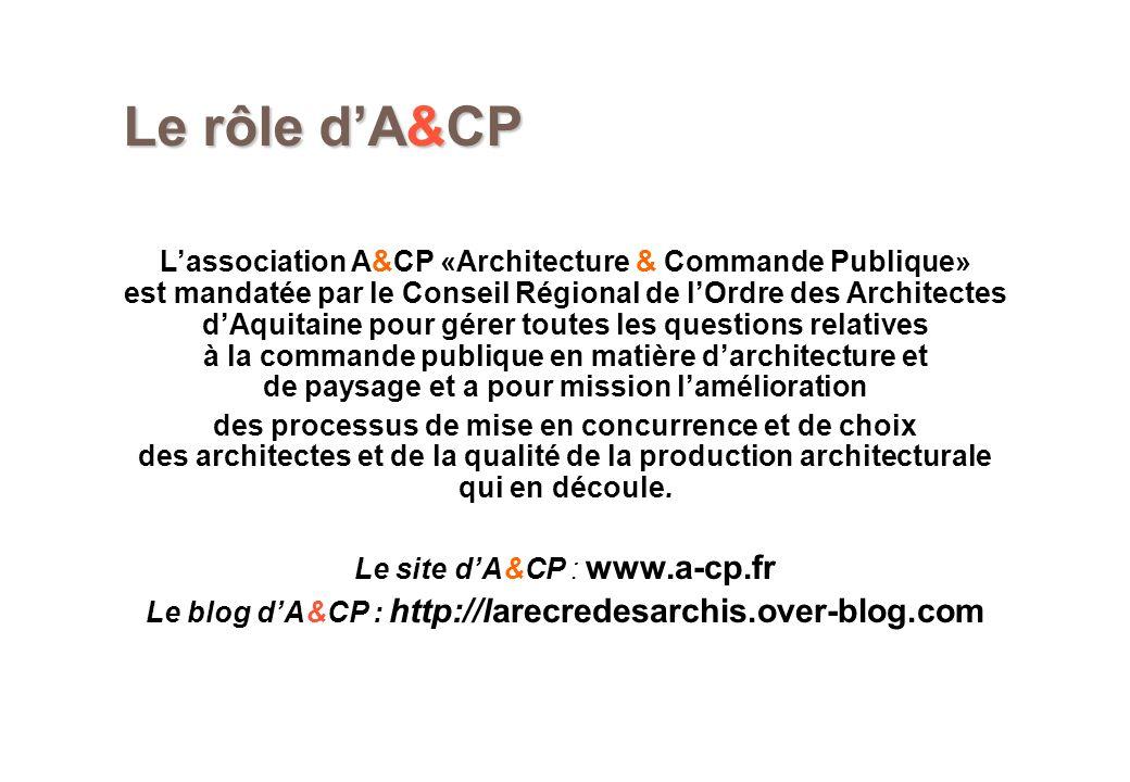 Le rôle dA&CP Lassociation A&CP «Architecture & Commande Publique» est mandatée par le Conseil Régional de lOrdre des Architectes dAquitaine pour gére